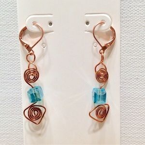 Triangle Spiral Crystal OOAK handmade earrings